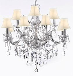 Maria Theresa Crystal Chandelier Lighting Chrome Finish With White Shades H30 x W28