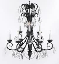 Entryway/Foyer Wrought Iron Empress Crystal Chandelier Lighting 30In Tall
