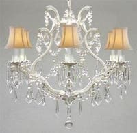 Wrought Iron Crystal Chandelier Lighting With White Shades H19 x W20