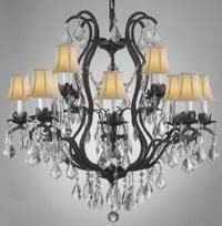 Wrought Iron Crystal Chandelier Lighting With White Shades 12 Lights