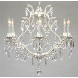 White Wrought Iron Crystal Chandelier Lighting H19 x W20