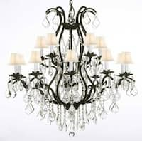 Wrought Iron Crystal Chandelier Lighting Empress Crystal With White Shades