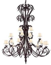 Large Foyer Entryway Wrought Iron Chandelier Lighting With White Shades H50 x W30