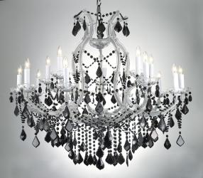 New Maria Theresa Crystal Chandelier Lighting H38 x W37 With Jet Black Crystal