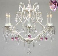 Wrought Iron & Crystal Chandelier Lighting Authentic Empress Crystal With Pink Crystal Hearts