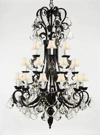 Entryway/Foyer Wrought Iron Chandelier Lighting 50In Tall With Crystal & White Shades