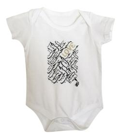 "Graffiti and Gold Graphic ""Love"" Baby Onesie Bodysuit"
