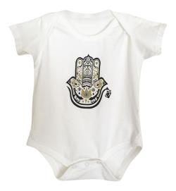 "Graffiti and Gold Graphic ""hamza hand"" Baby Onesie Bodysuit"