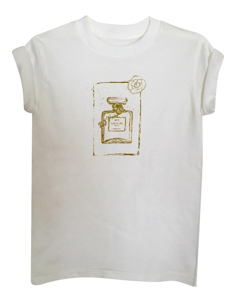 LITTLE GIRL'S COUTURE TEE- WHITE