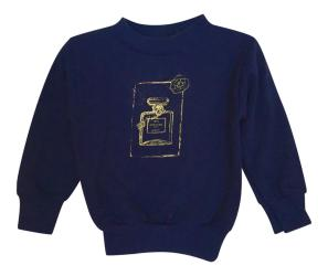 LITTLE GIRL'S FLEECE COUTURE PERFUME PULLOVER - NAVY BLUE