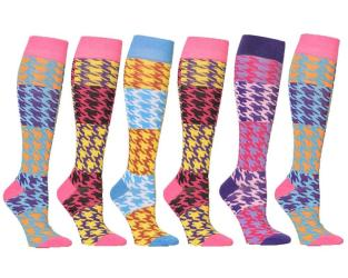 Houndstooth Check Mixed Women's Fashion/Stylish Colorful Patterned Knee High Socks (6 Pairs) - Thumbnail 0