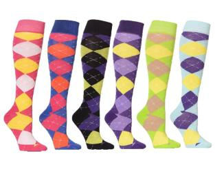 Argyle Mixed Women's Fashion/Stylish Colorful Patterned Knee High Socks (6 Pairs) - Thumbnail 0