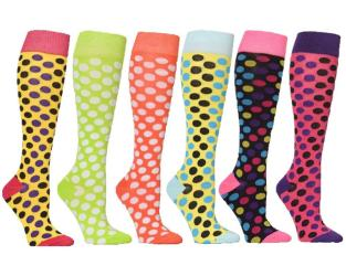 Polka Dots Mixed Women's Fashion/Stylish Colorful Patterned Knee High Socks (6 Pairs) - Thumbnail 0