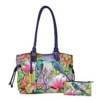 Women's Anuschka Hand Painted Large Drawstring Shopper Spring Passion