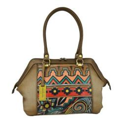 Women's Anuschka Hand Painted Large wide Satchel Antique Aztec