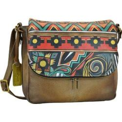 Women's Anuschka Hand Painted Zip Around Organizer Satchel Antique Aztec