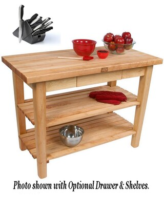 John Boos C06-D-2S 48x30 Country Maple Work Table with Drawer and 2 Sheves and J A Henckels 13-piece Knife Set.