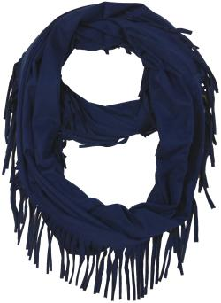 Women's Fashion Fringe Soft Infinity Scarf, Red Black Brown Grey Blue - Thumbnail 0