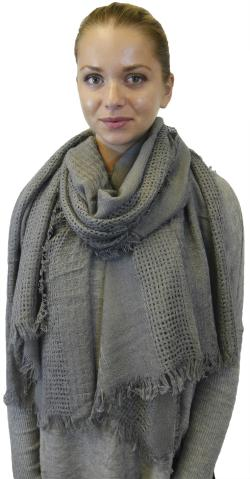 Womens Warm Soft Wool Feel Fringe Scarf Shawl Wrap