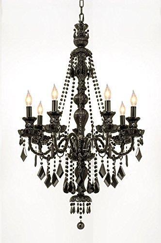 New Jet Black Gothic Crystal Chandelier Lighting H42 x W26