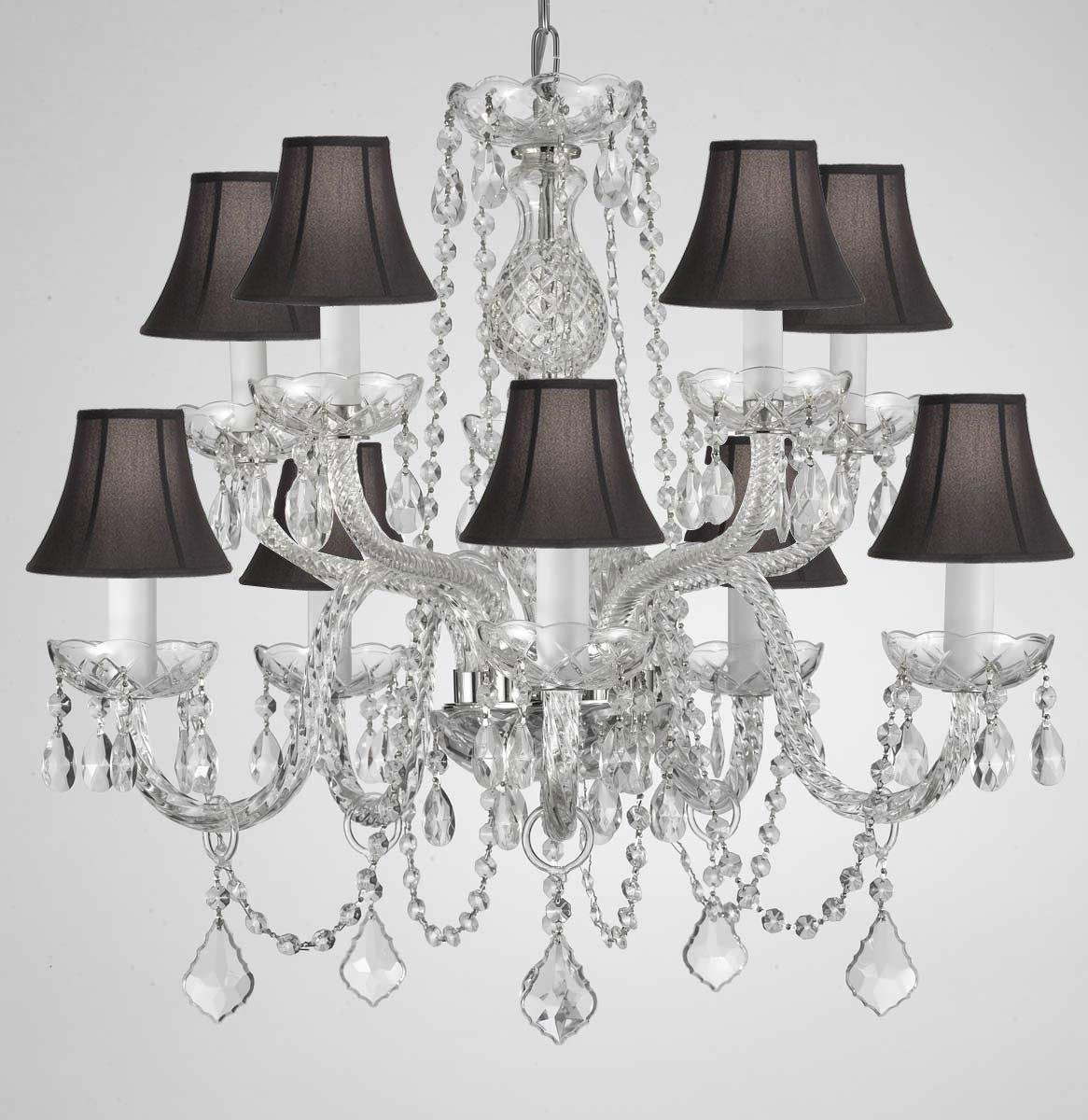 Crystal Chandelier Lighting With Black Shades H25 x W24 - Thumbnail 0