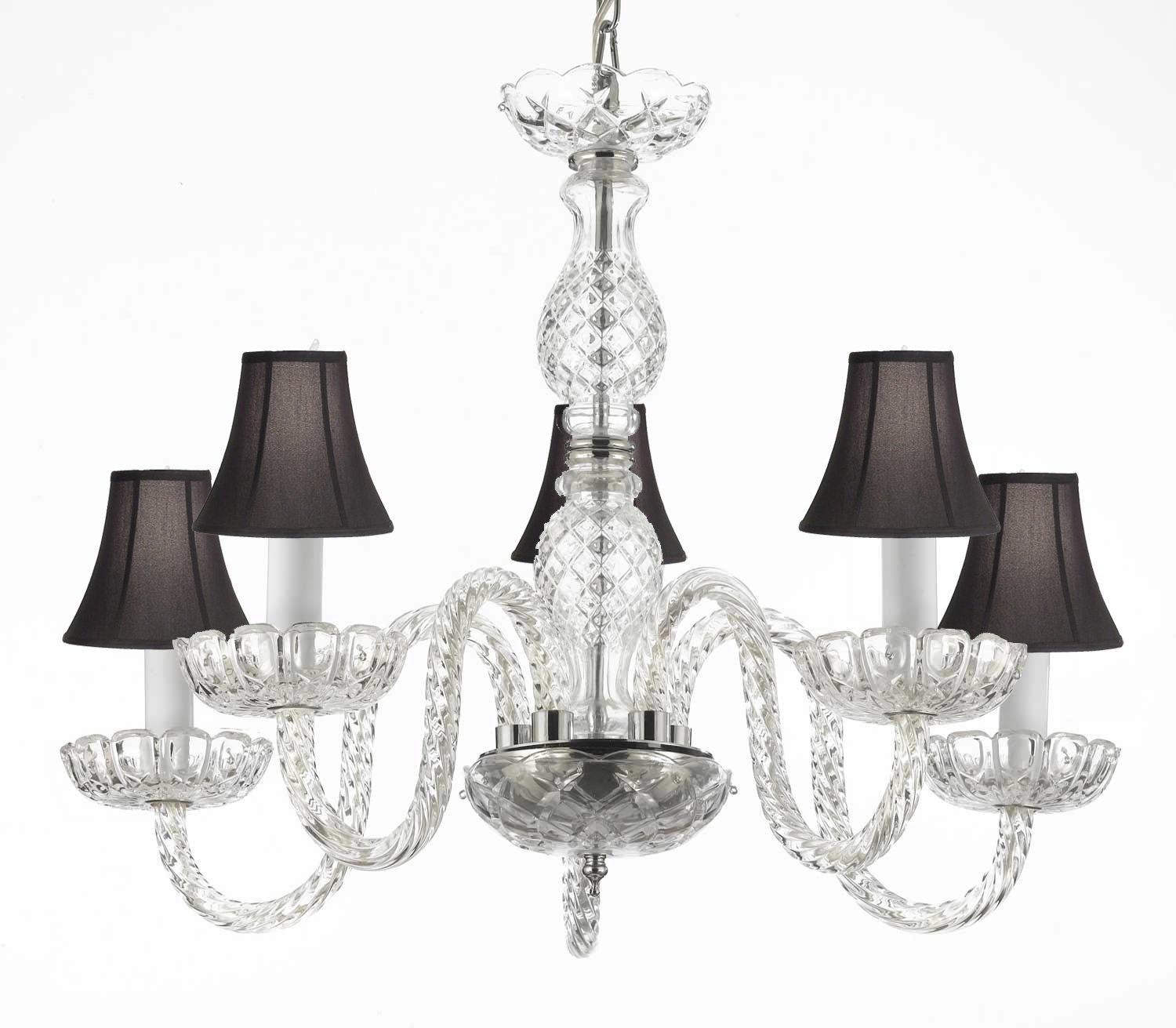 Venetian Style Crystal Chandelier Lighting With Black Shades H25 x W24