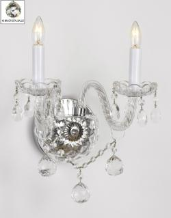 Venetian Style All Crystal Wall Sconce With Crystal Balls