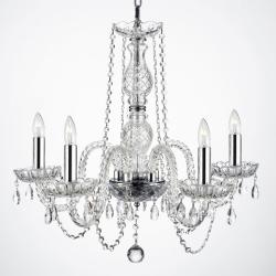 Empress Crystal Chandelier Lighting With Chrome Sleeves - Thumbnail 0