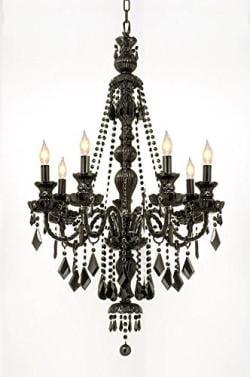 New Jet Black Gothic Crystal Chandelier Lighting H42 x W26 - Thumbnail 0