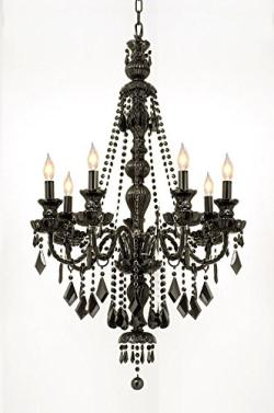 New Jet Black Gothic Crystal Chandelier Lighting H42 x W26
