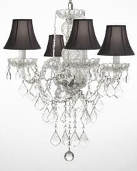 New Authentic All Crystal Chandelier Lighting With Black Shades