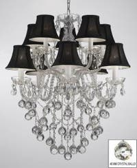 All Crystal Chandelier Lighting With 40 mm Crystal Balls & Black Shades