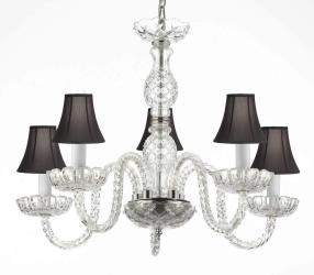 Venetian Style Crystal Chandelier Lighting With Black Shades H25 x W24 - Thumbnail 0