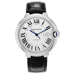 Cartier Men's Ballon Bleu W69016Z4 Stainless Steel Silver Dial Black Leather Strap Watch
