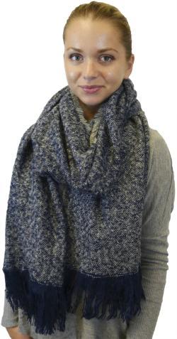 Extra Large Fall Winter Fringe Soft Warm Scarf Wrap Shawl, Black Navy Grey