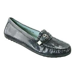Women's David Tate Tiffany Driving Moc Black Leather Snake Print