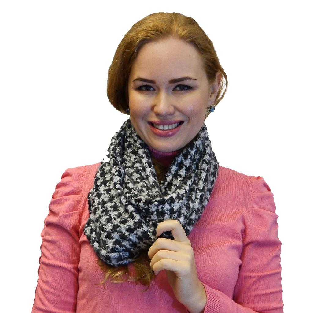 Women's Winter Warm Soft Infinity Scarf Houndstooth, Black Burgundy Grey Navy Red