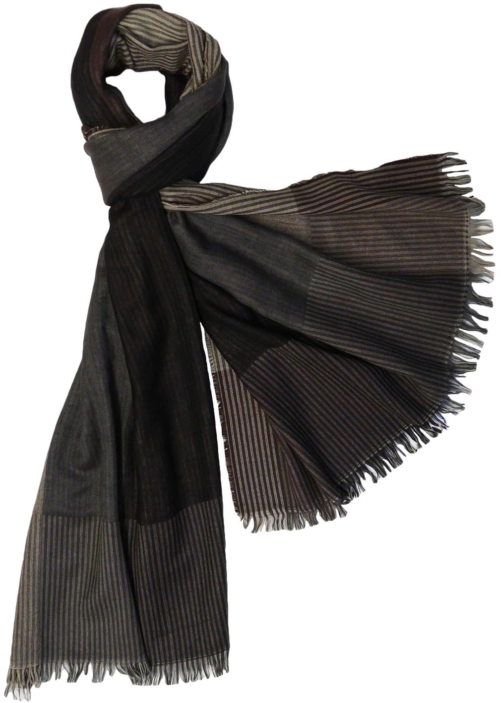 Large Color Block Stripes Scarf with Fringe, Black Brown Green Grey Pink