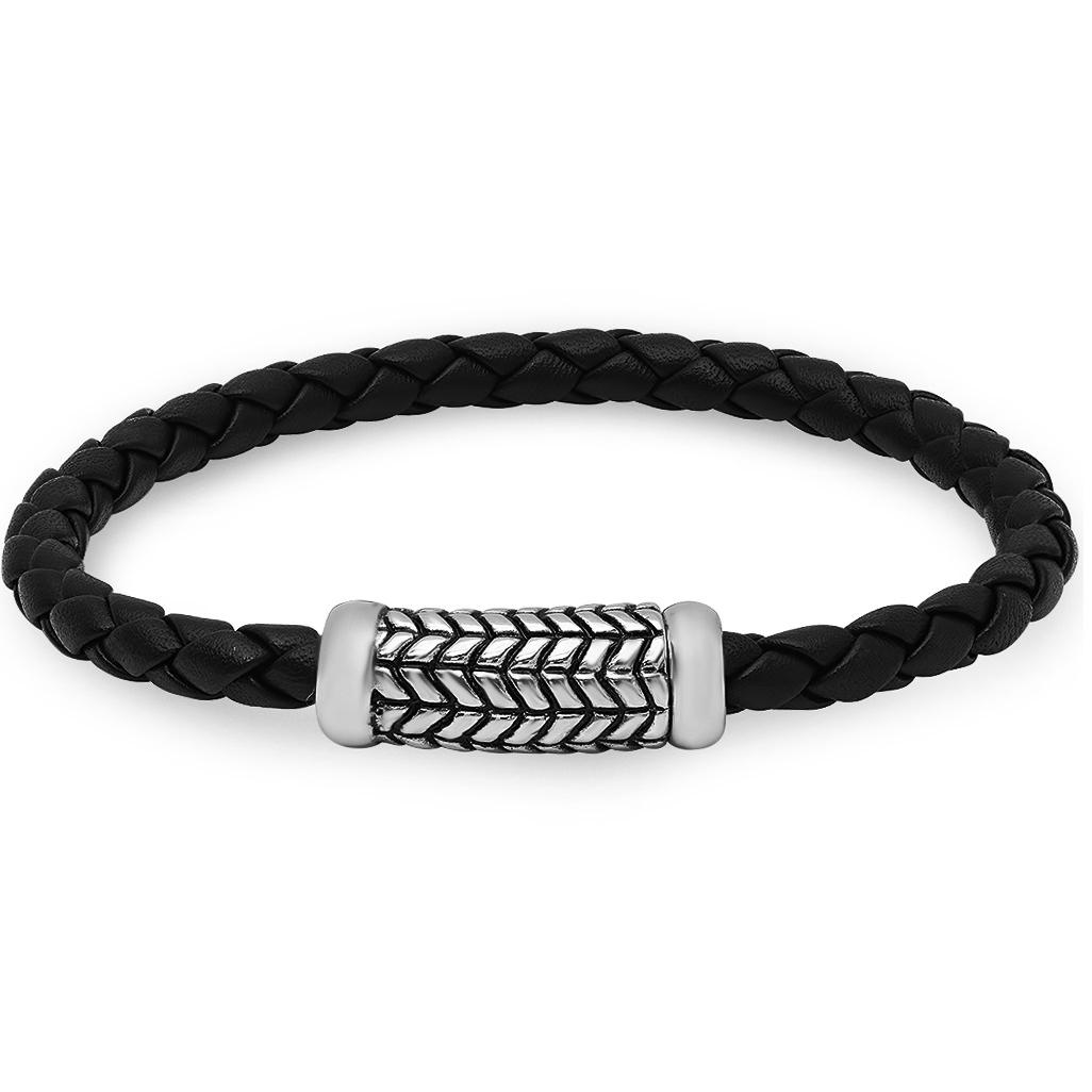 Oxford Ivy Braided Black Leather Bracelet with Magnetic Stainless Steel Clasp ( 8 1/2 inches)