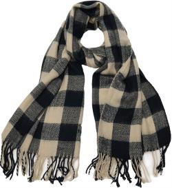 Buffalo Check Plaid Extra Large Warm Soft Wool Feel Scarf, Black Burgundy Green Navy - Thumbnail 0
