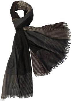 Large Color Block Stripes Scarf with Fringe, Black Brown Green Grey Pink - Thumbnail 0
