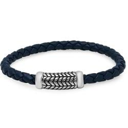 Oxford Ivy Braided Navy Leather Bracelet with Stainless Steel Clasp ( 8 1/2 inches)