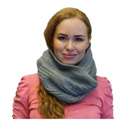 Womens Winter Warm Knit Infinity Scarf, Black Grey Orange Red - Thumbnail 0