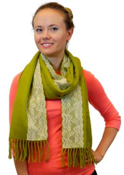 Womens Winter Warm Large Scarf With White Lace Stripe, Beige Black Olive