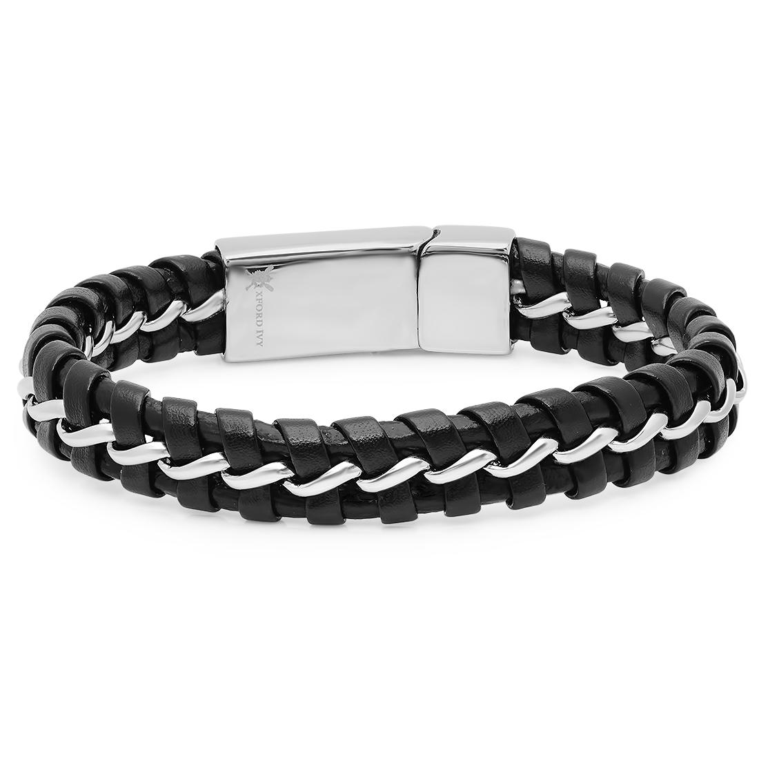Oxford Ivy Mens Faux Leather and Stainless Steel Bracelet 8 1/2 inches