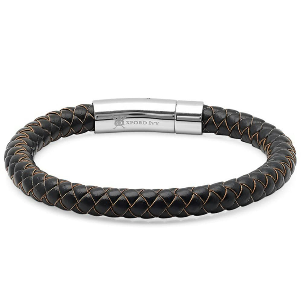 Oxford Ivy Braided Dark Brown Leather Mens Bracelet 8 mm 8 1/2 inches with Locking Stainless Steel Clasp