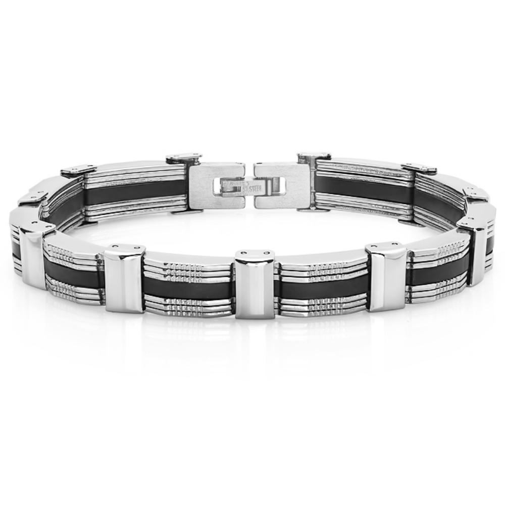 Oxford Ivy Mens Solid Stainless Steel and Back Rubber Bracelet ( 8 3/4 inches)