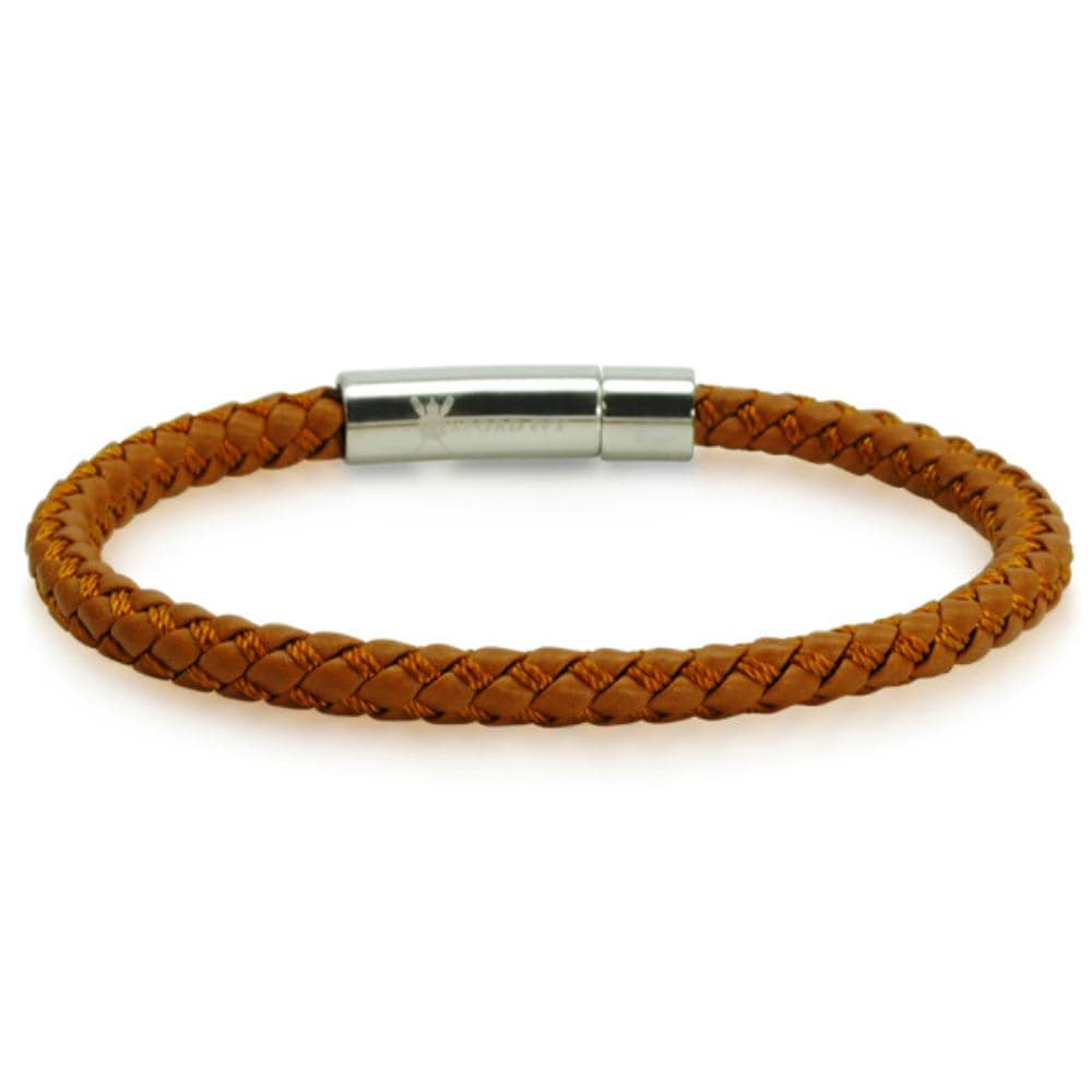 Oxford Ivy Braided Brown Leather Mens Bracelet 6 mm 8 1/2 inches with Locking Stainless Steel Clasp