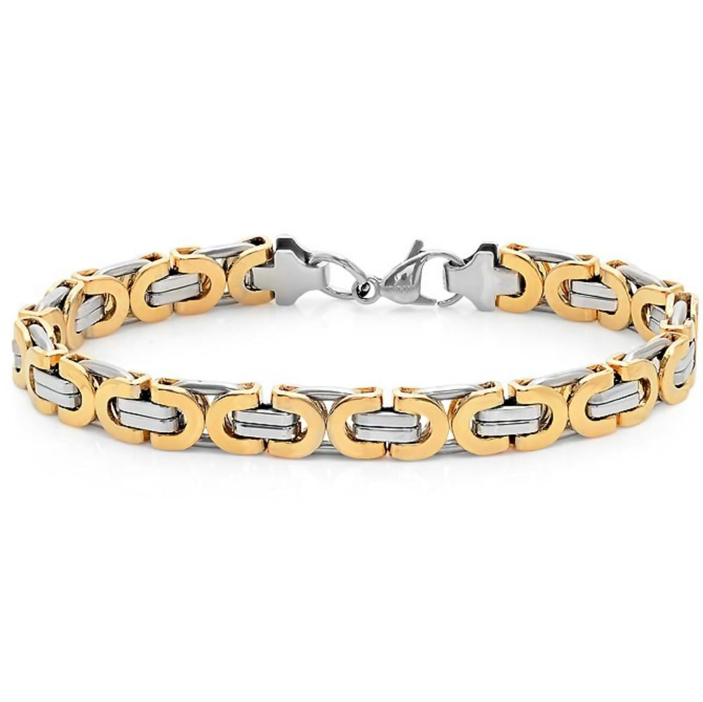 Oxford Ivy Mens Two Tone Stainless Steel Link Bracelet 8 1/2 inches