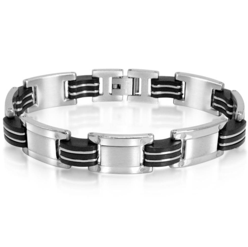 Oxford Ivy Stainless Steel with Black Rubber Mens Chain Link Bracelet 8 1/2inches